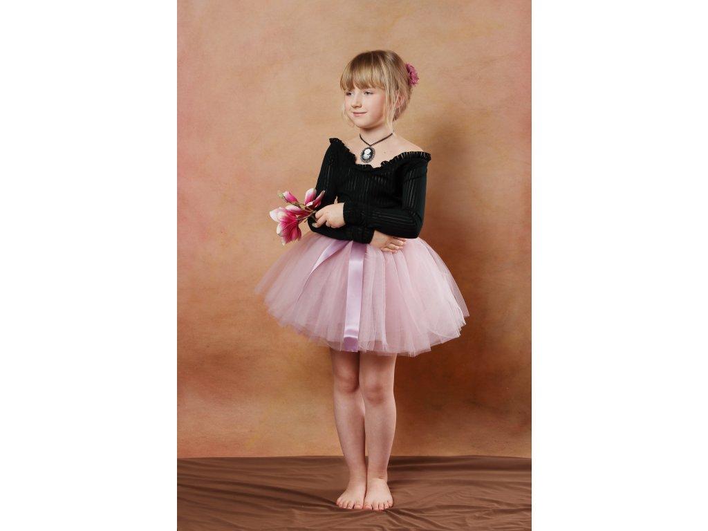 Tutu sukně tylová dětská - starorůžová - délka 35 cm - družička