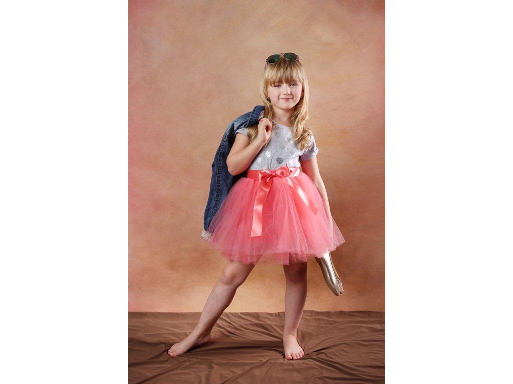 Tutu sukně tylová dětská nad kolena - jahodová - délka 35 cm