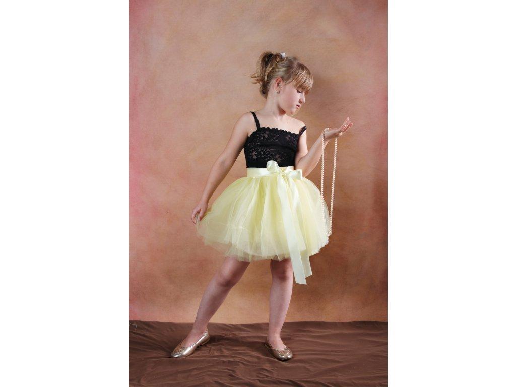 Tutu sukně tylová dětská nad kolena - žlutá - délka 35 cm