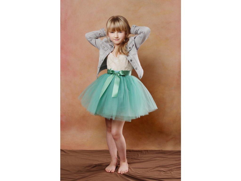 Tutu sukně tylová dětská - světle zelená - délka 35 cm