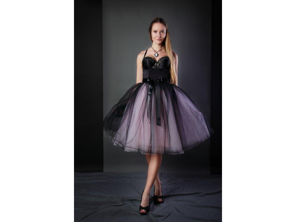 Tutu sukně tylová dámská - černo/růžová