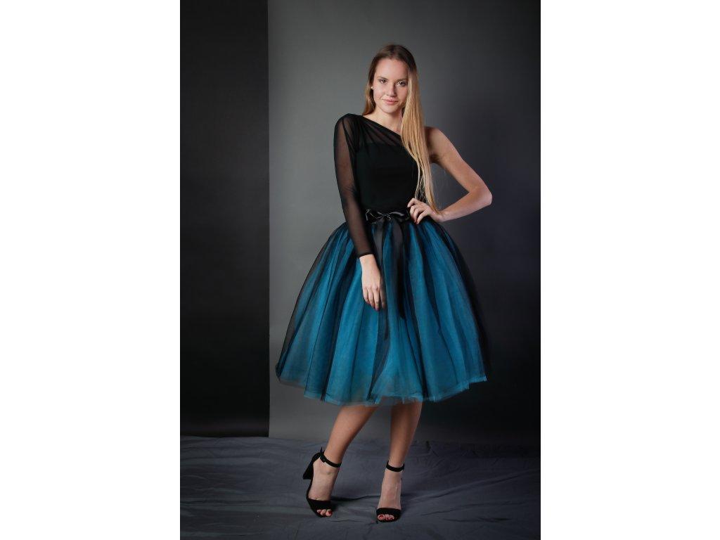 Tutu sukně tylová dámská - černo/tyrkysová