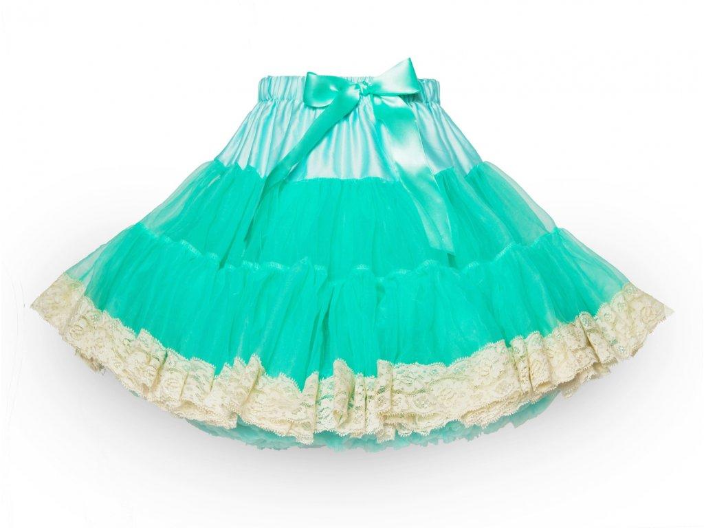 Tutu sukně dámská tylová Maxima - mátová s krajkou