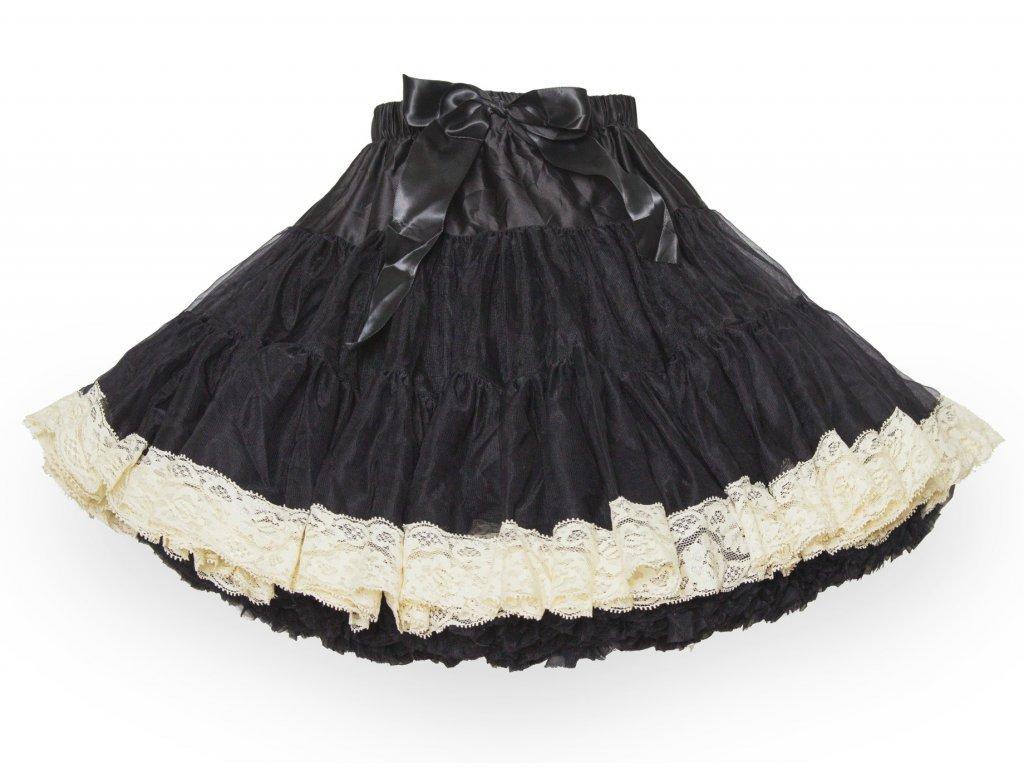 Tutu sukně dámská tylová extra - černá s krajkou