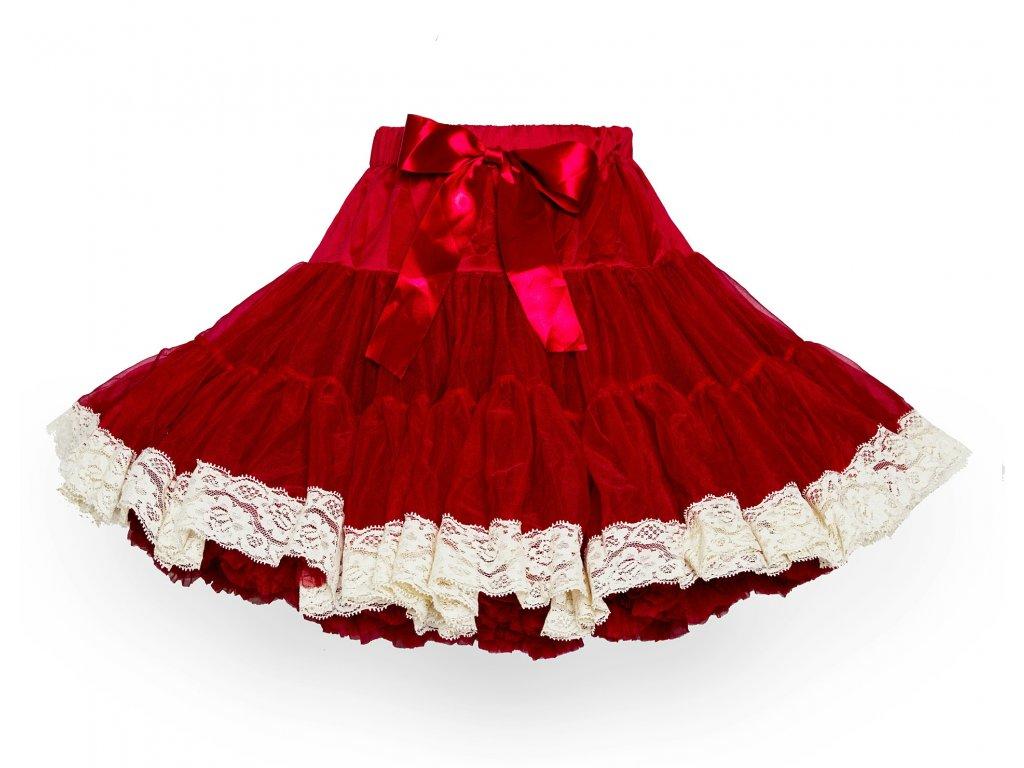 Tutu sukně dámská tylová dospělá extra - vínová s krajkou