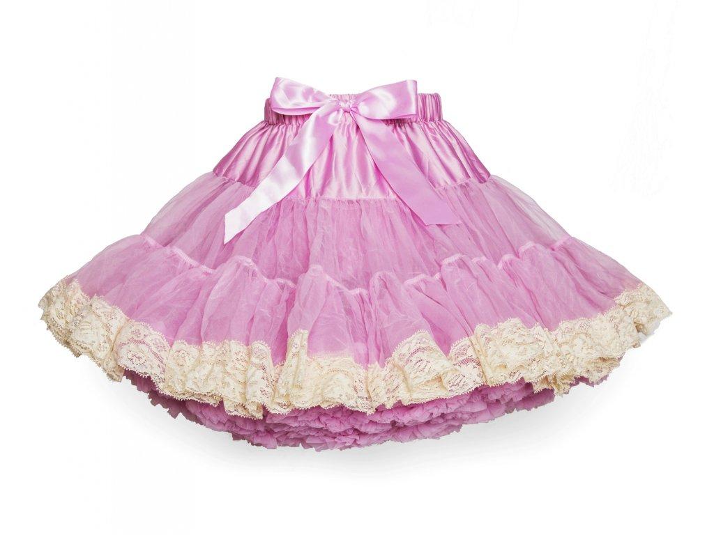 Tutu sukně dětská tylová extra - starorůžová s krajkou