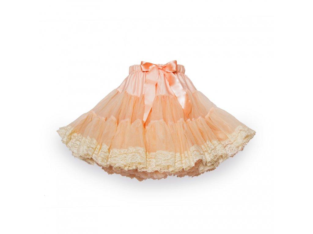 Tutu sukně dětská tylová extra - meruňková s krajkou