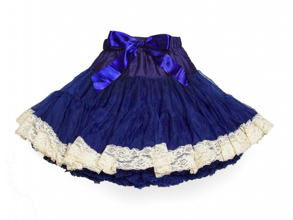 Tutu sukně dětská tylová extra - námořnicky  modrá s krajkou