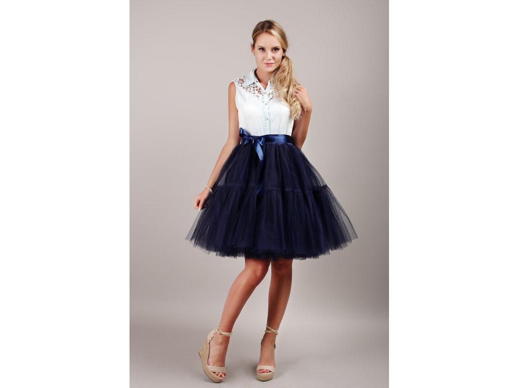 TUTU sukně tylová s kanýrem - námořnicky modrá