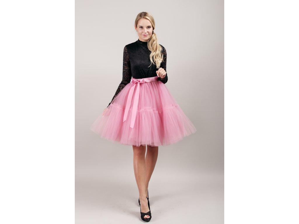 TUTU sukně tylová s kanýrem - korálová