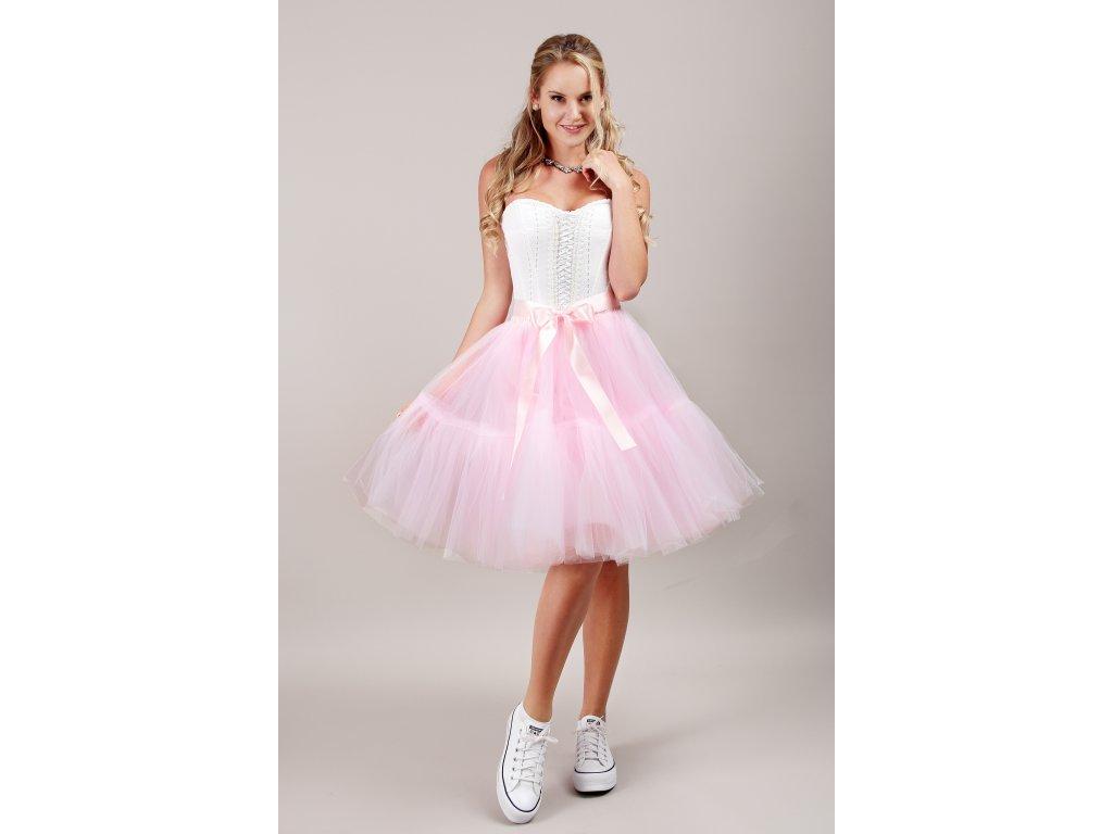 TUTU sukně tylová s kanýrem - světle růžová