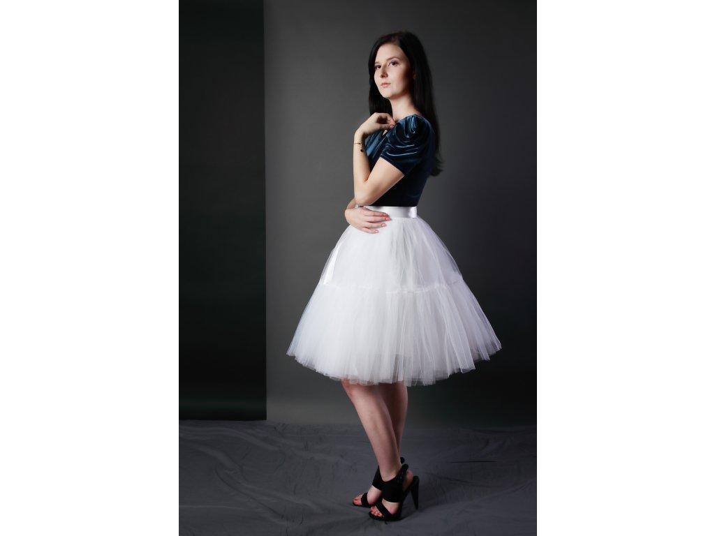 TUTU sukně tylová s kanýrem - bílá - svatební