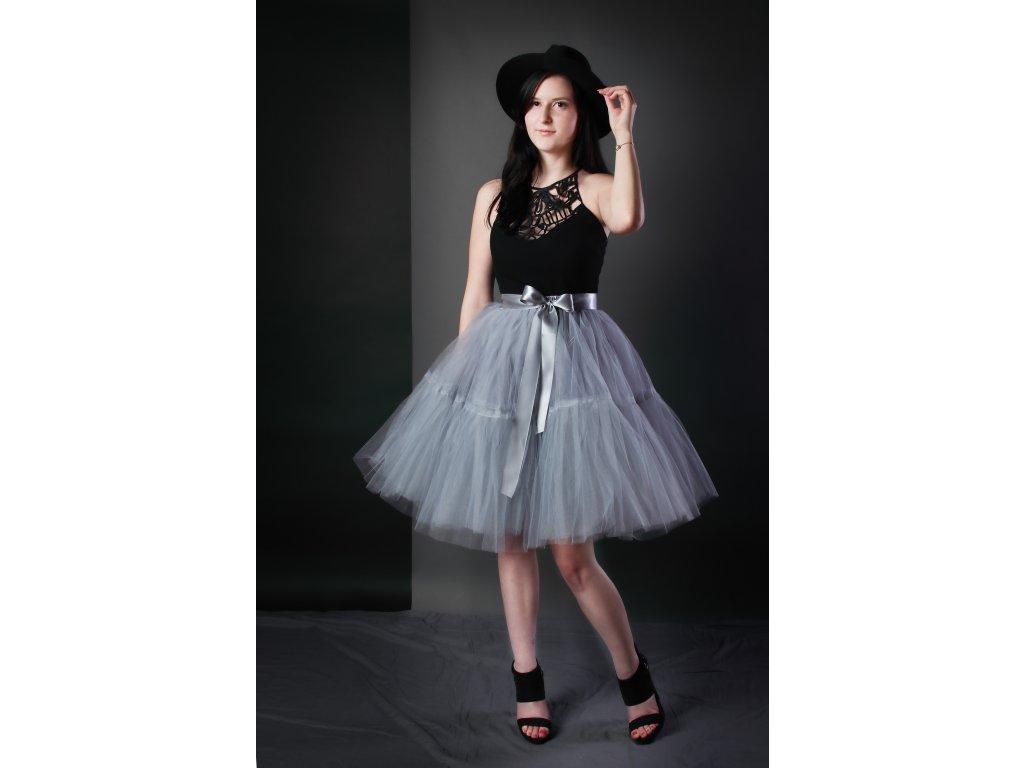TUTU sukně tylová s kanýrem - šedá