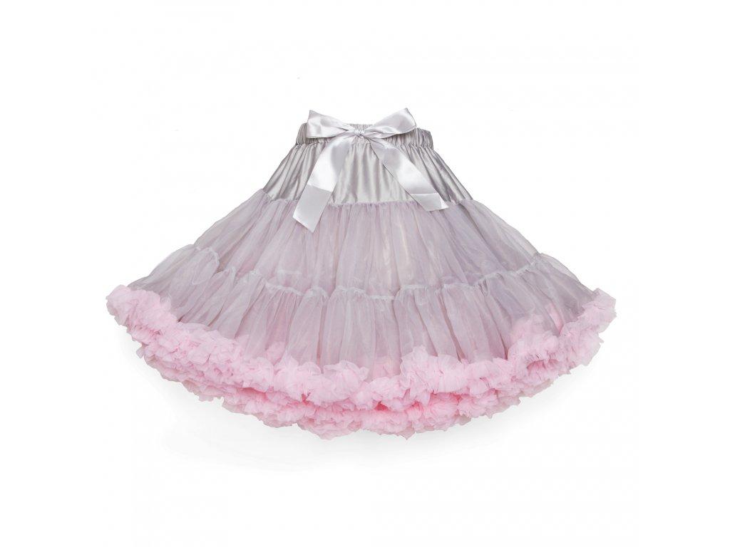 Tutu sukně dámská tylová extra - šedá se světle růžovou