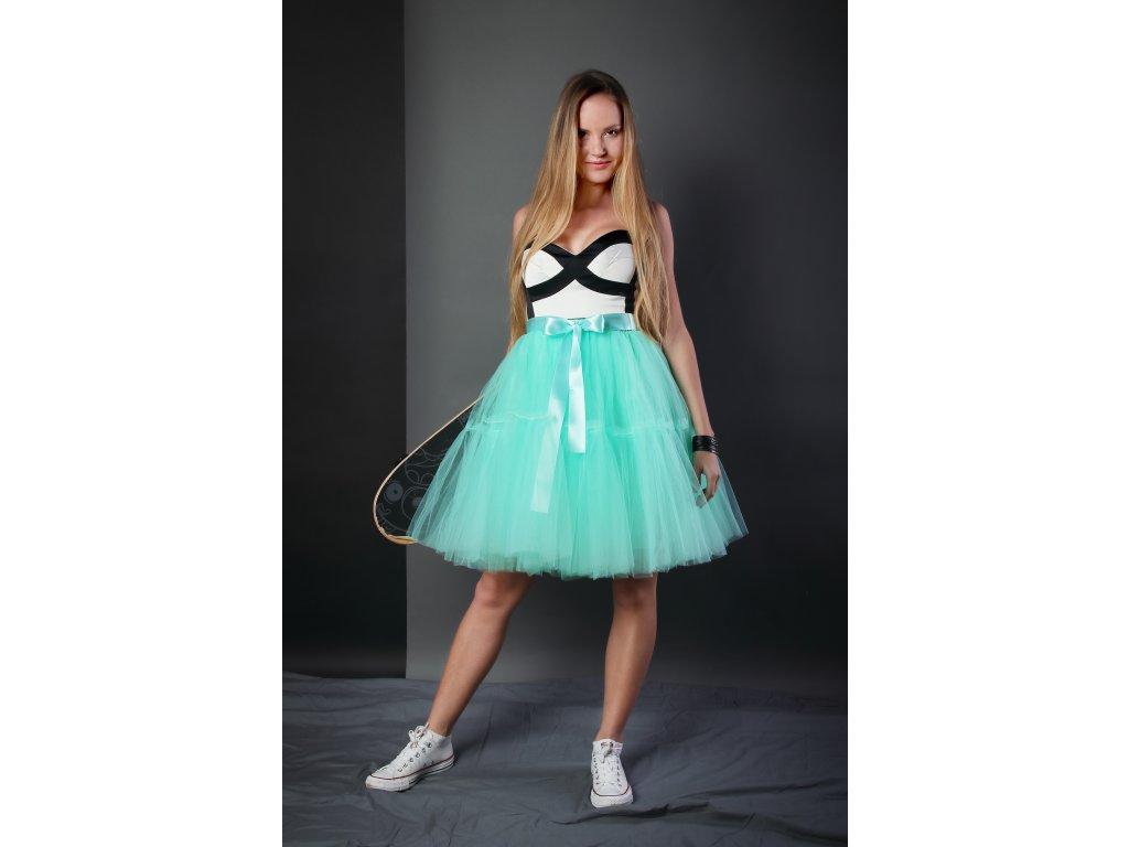 TUTU sukně tylová s kanýrem - mátová