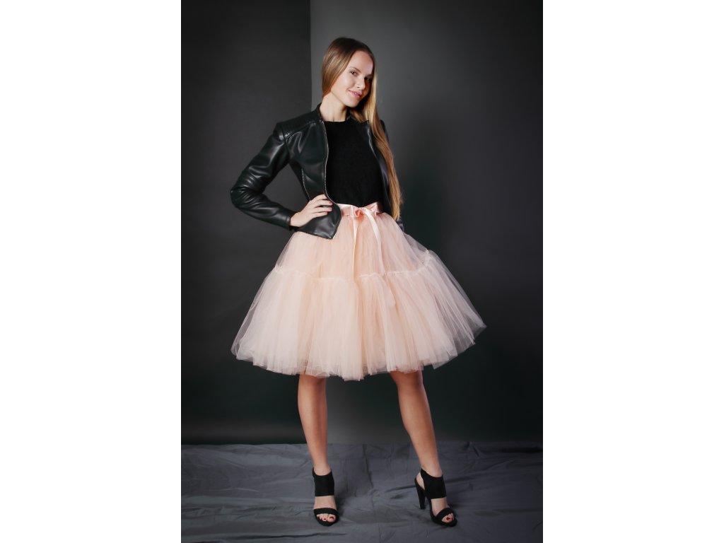 TUTU sukně tylová s kanýrem - meruňková