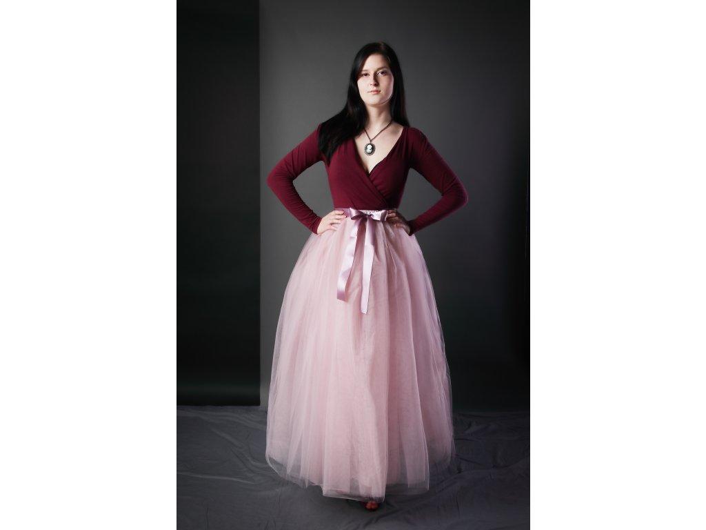 Tutu sukně tylová dámská maxi - starorůžová