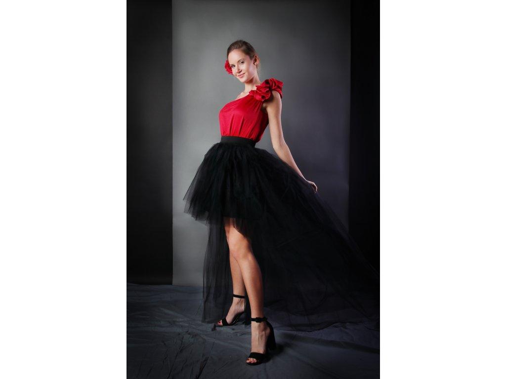 Tutu sukně tylová s vlečkou - černá - 4 vrstvá