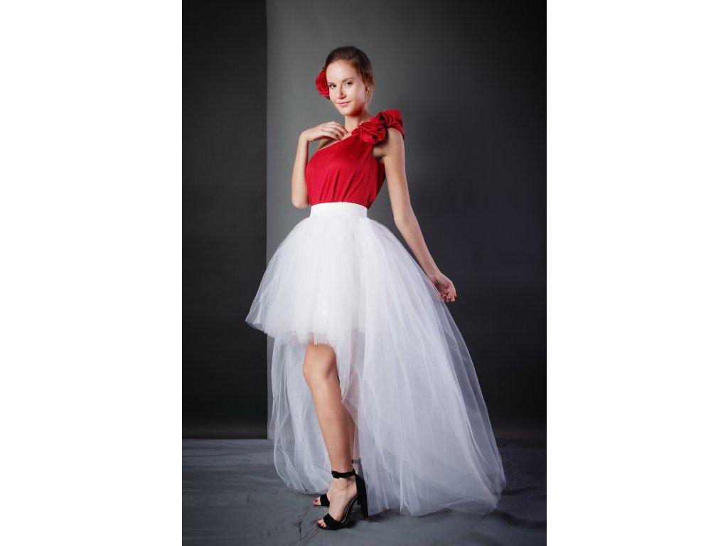 Tutu sukně tylová s vlečkou - svatební bílá - 4 vrstvy tylu