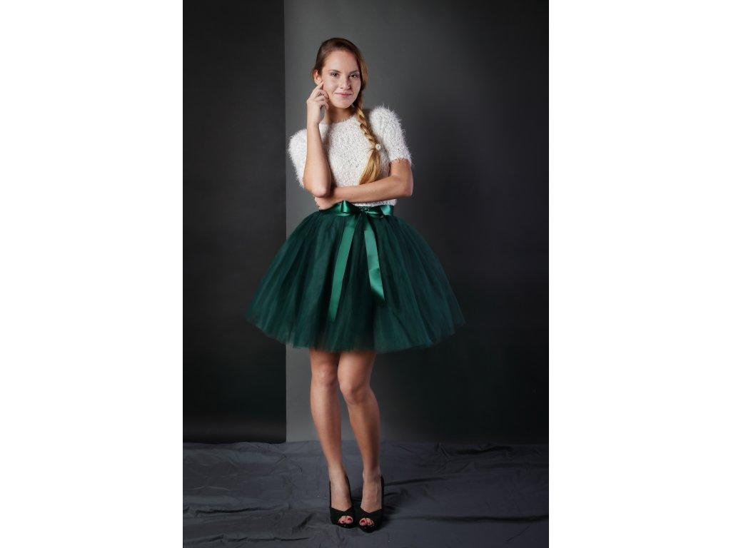 Tutu sukně tylová dámská - tmavě zelená
