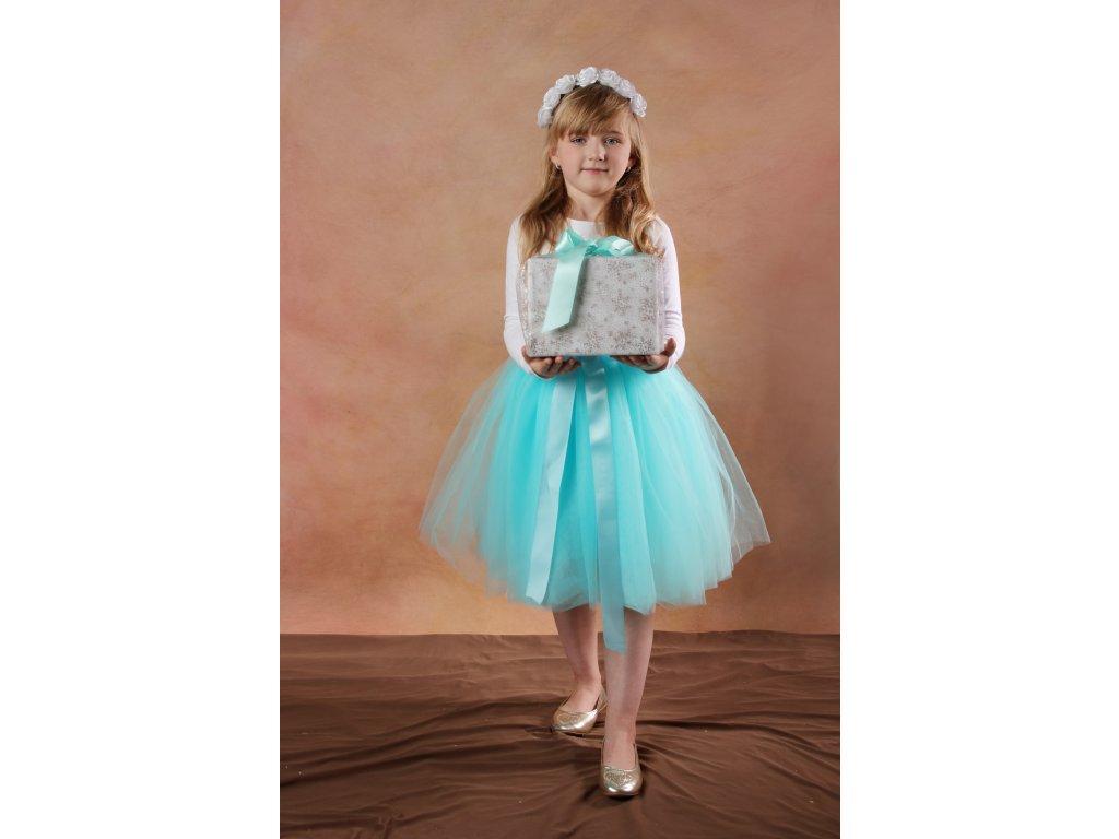Tutu sukně tylová dětská - mátová - délka 35 cm a 50 cm