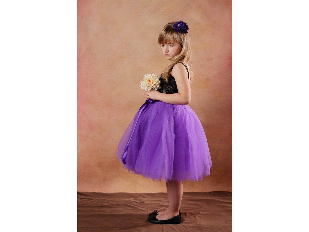 Tutu sukně tylová dětská - fialová - délka 35 cm a 50 cm