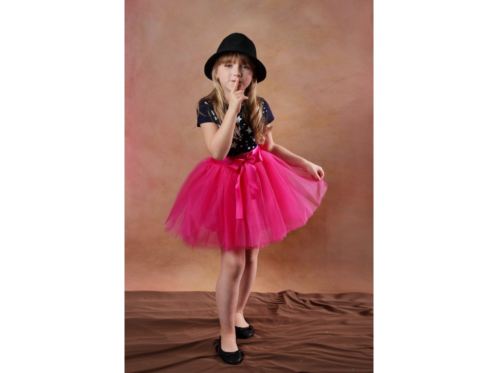 Tutu sukně tylová dětská - tmavě růžová - délka 35 cm a 50 cm