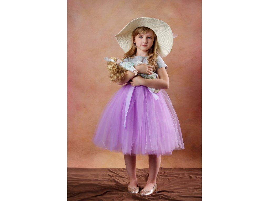 Tutu sukně tylová dětská - šeříková - délka 35 cm a 50 cm - družička