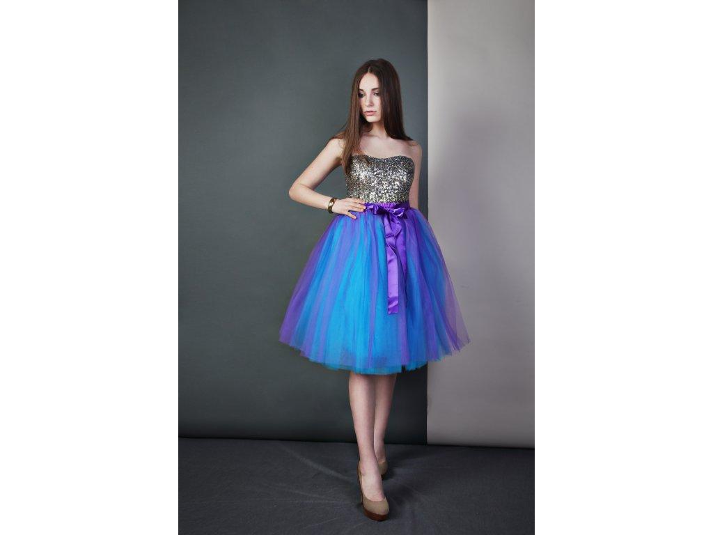 Tutu sukně tylová dámská - fialovo/tyrkysová
