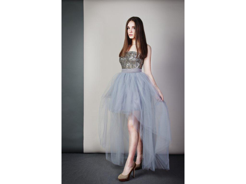 Tutu sukně tylová s vlečkou - šedá