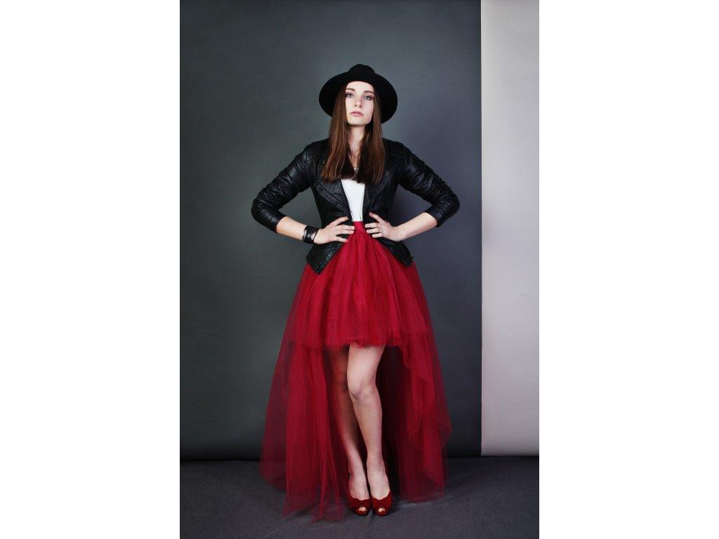 Tutu sukně tylová s vlečkou - vínová