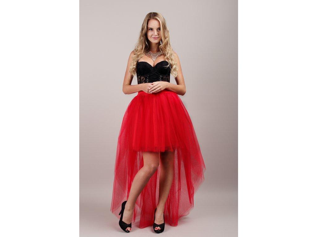 Tutu sukně tylová s vlečkou - červená