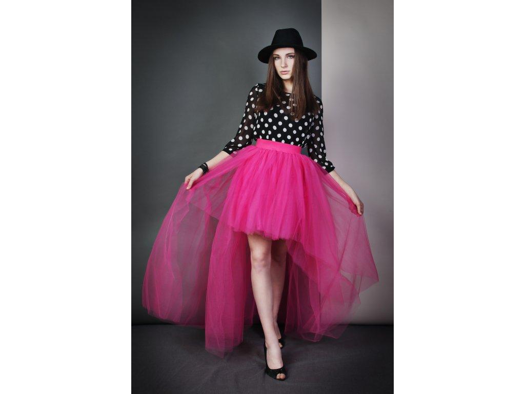 Tutu sukně tylová s vlečkou - růžová