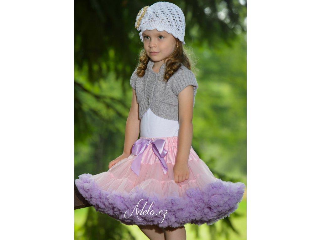 Tutu sukně dětská tylová Maxima - světle růžová se světle fialovou