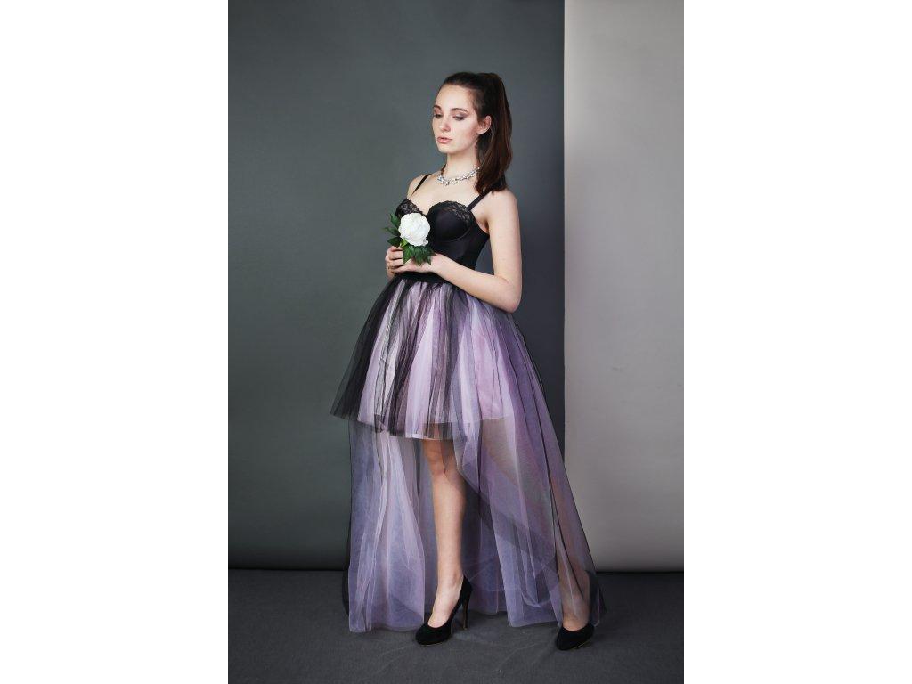 Tutu sukně tylová s vlečkou - růžová - černá