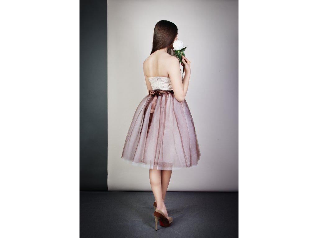 Tutu sukně tylová dámská - bílo čokoládová