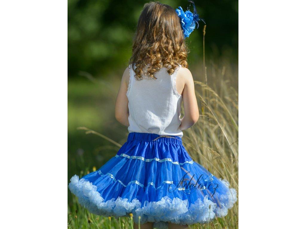 Tutu sukně dětská tylová Maxima - tmavě modrá - světle modrá stuha