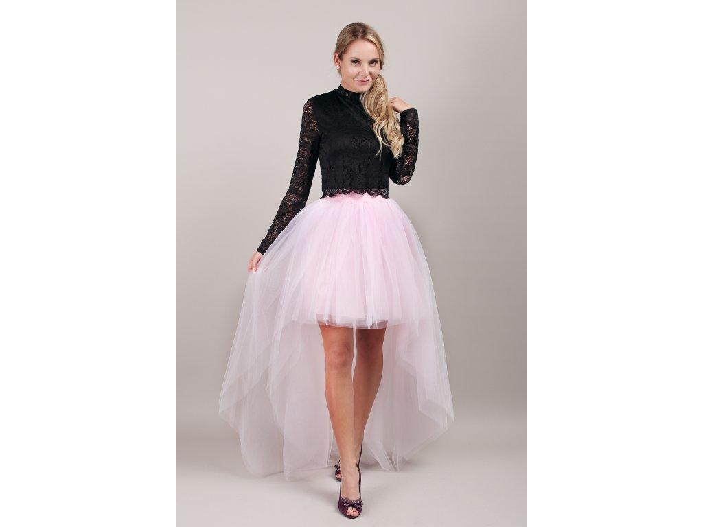 Tutu sukně tylová s vlečkou- Světle růžová