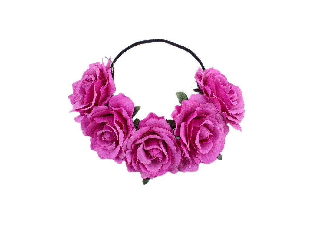 Věneček s velkými růžemi - fuchsiova