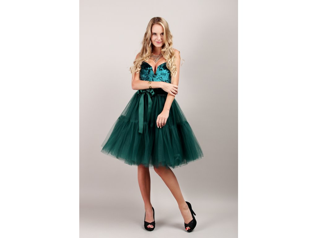 TUTU sukně tylová s kanýrem - tmavě zelená