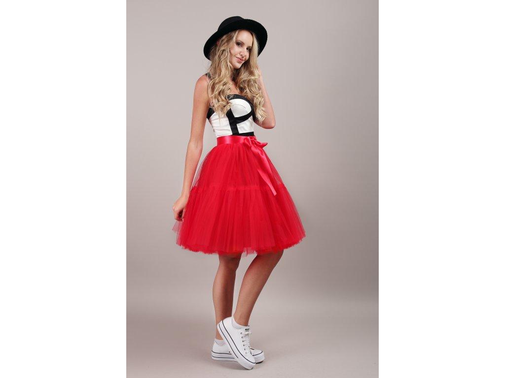 TUTU sukně tylová s kanýrem - červená