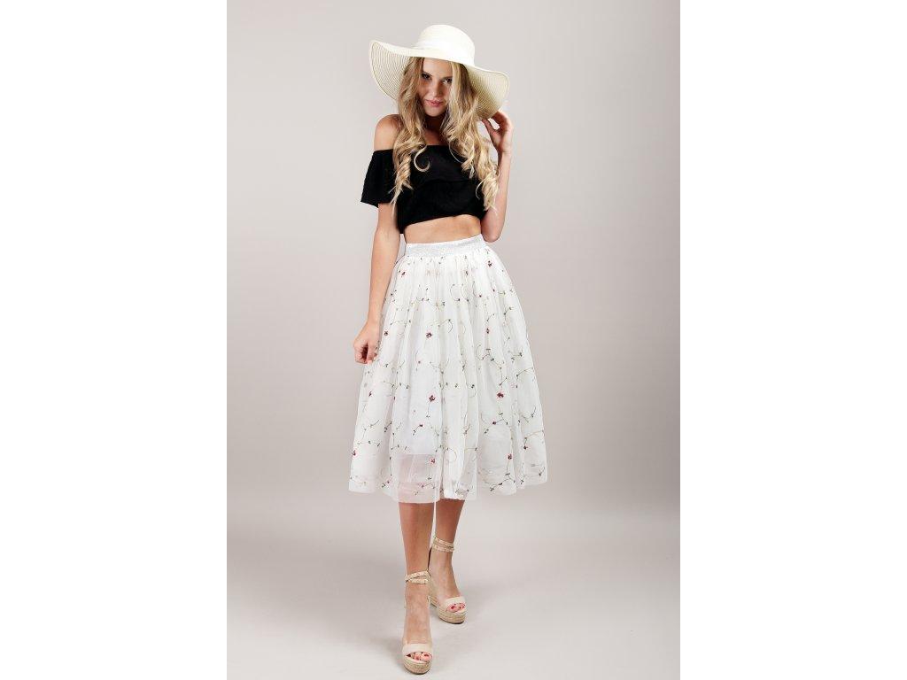 Tutu sukně tylová dámská - květinová - bílá