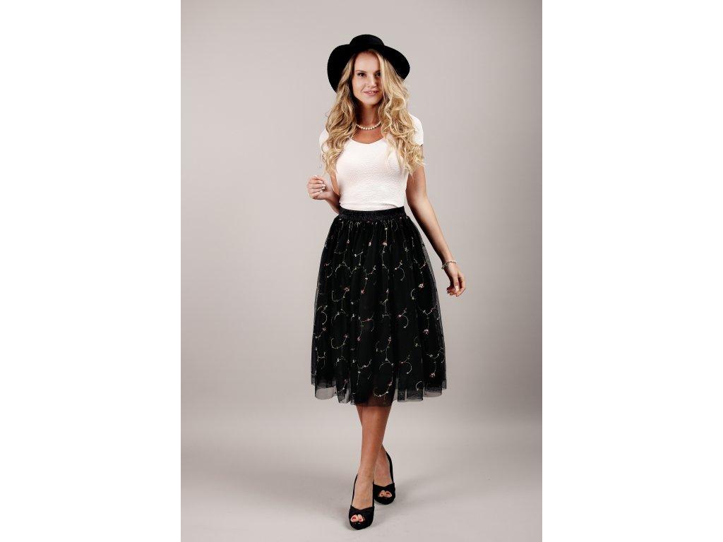Tutu sukně tylová dámská - květinová - černá