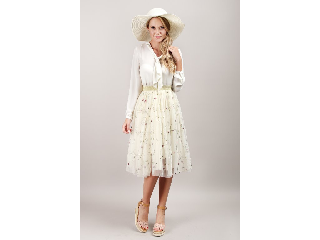 Tutu sukně tylová dámská - květinová - krémová