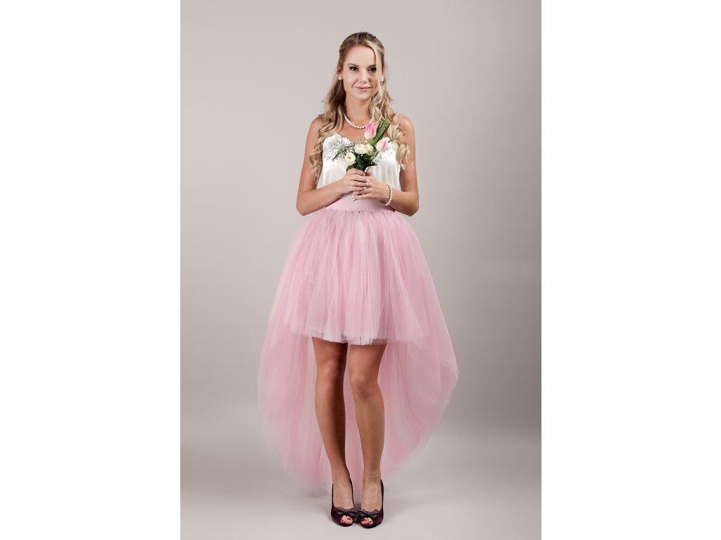 Tutu sukně tylová s vlečkou - starorůžová