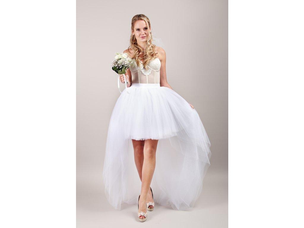 Tutu sukně tylová s vlečkou - svatební bílá - 6 vrstev tylu - PRINCESS