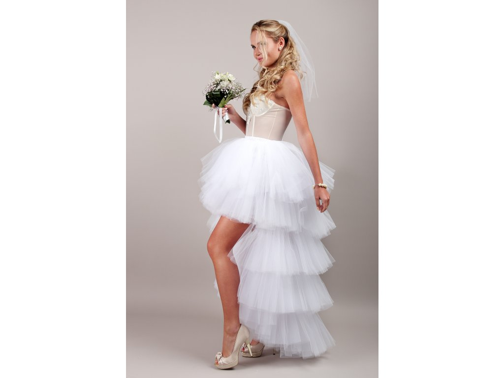 Tutu sukně tylová s vlečkou - KASKÁDY - svatební bílá