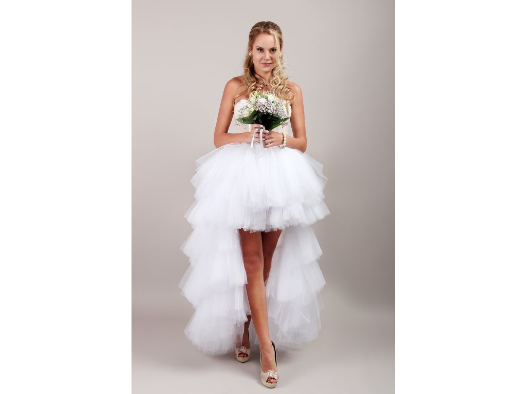 Tutu sukně tylová s vlečkou - svatební bílá - KASKÁDY