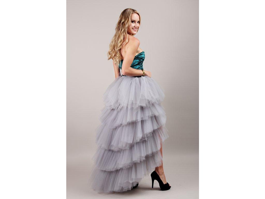 Tutu sukně tylová s vlečkou - KASKÁDY - šedá