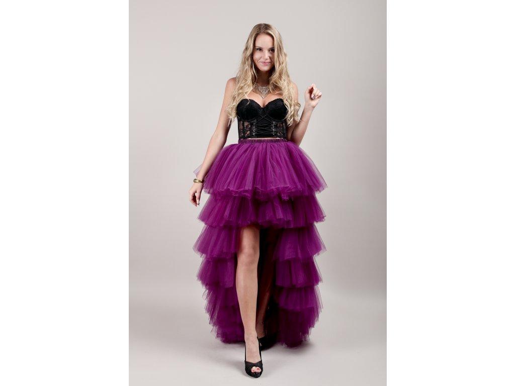 Tutu sukně tylová s vlečkou - KASKÁDY - fuchsiová
